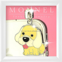ip565-1 Monnel Custom Alloy Lovely Yellow Enamel Puppy Pet Animal Anti Dust Plug Cover Stopper Charm