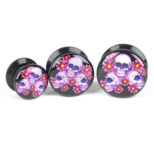 Custom black acrylic epoxy covered logo picture ear plug tunnel