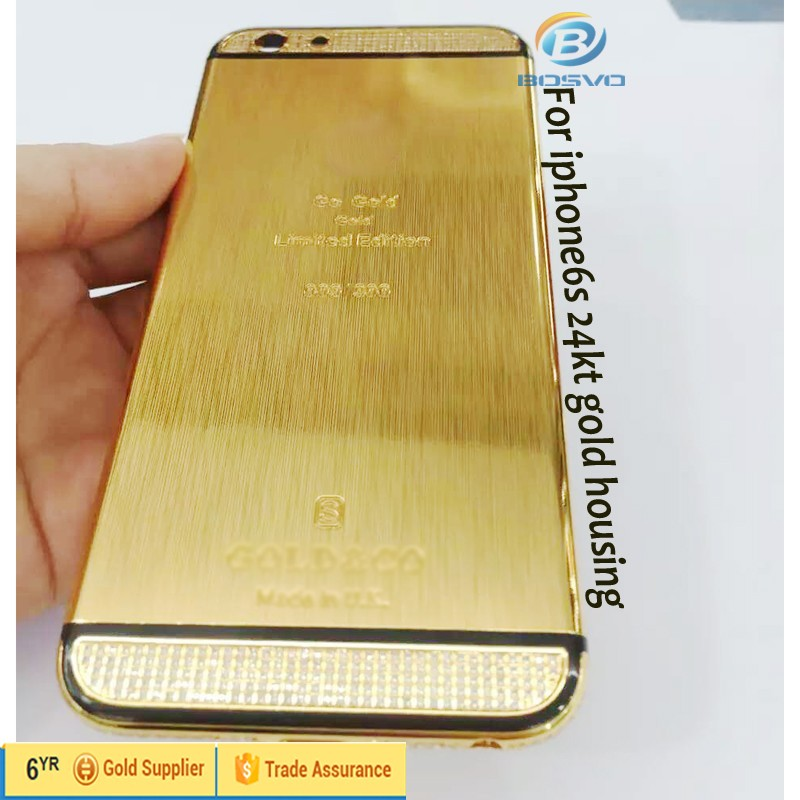 18k 24k gold plated brand new mobile phone back housing for iphone 6s for iphone6s 6s battery door rear cover case