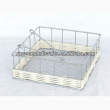 Wire frame with natural rattan weaving tissue holder for kitchen or table