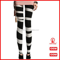 Women Sexy Yoga Pants Striped Shiny Stretch Leggings Slim Tight Pencil Pants
