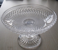 Clear Wedding Glass Pedestal Cake Stand / Plate