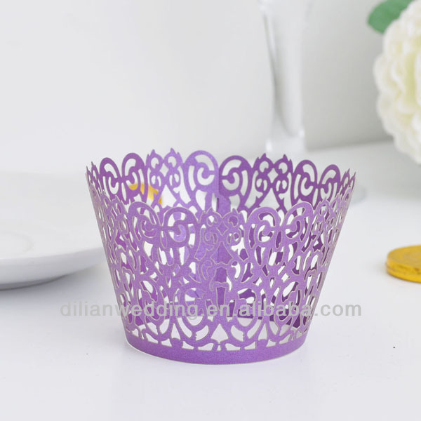 2014 handmade laser cut cupcake wrapper wedding decoration for wholesale