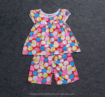 High quality colourful Children's summer cotton silk suit pajamas with lovely pattern