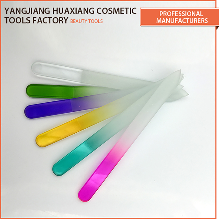 Wholesale colorful adorable silicone handle glass nail file buffer