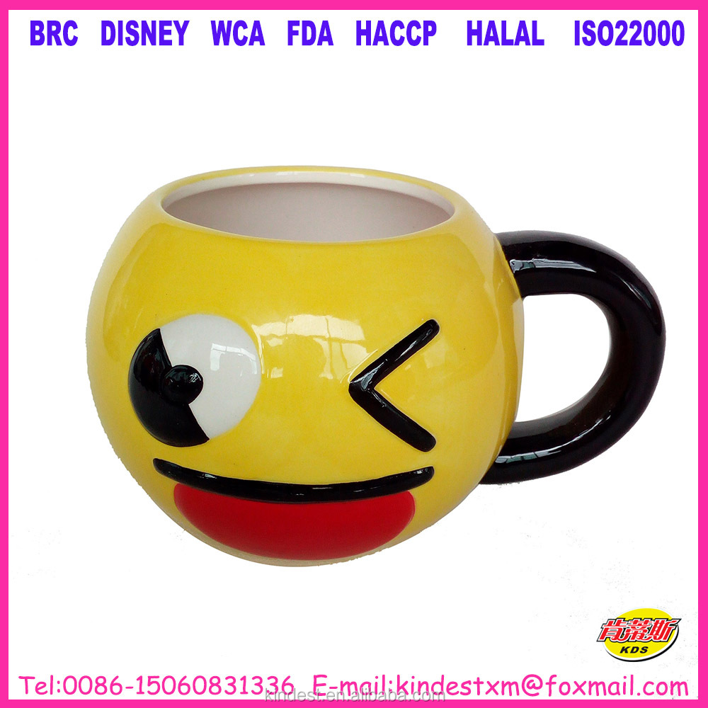 Happy Face Coffee Mug Cup Ceramic Round Glazed Yellow Smile
