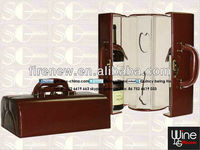 PU leather wine box carrier for 2 bottles