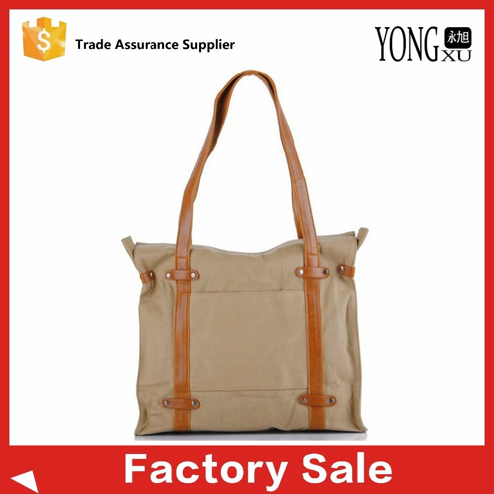 2015 vintage fashion style canvas shoulder handbags with leather handle, promotional canvas tote handbag, recycle canvas bag