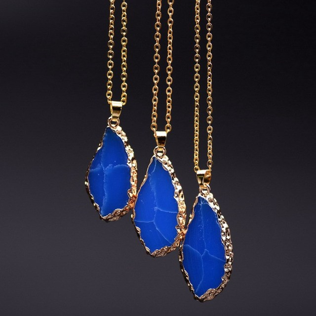 Big Cracked Flat Trays Natural Stone Pendants Thin Link Chain Necklace Choker For Men And Women