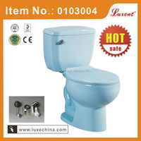 Ceramic siphonic toilet bowl dimensions in light blue color