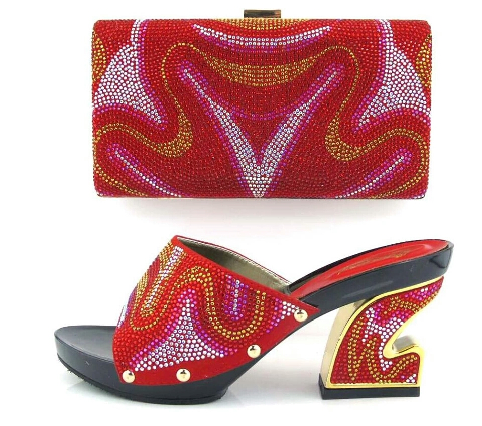 JON12 Red party shoes and bag 2017 Rhinestone shoes matching bag for lady