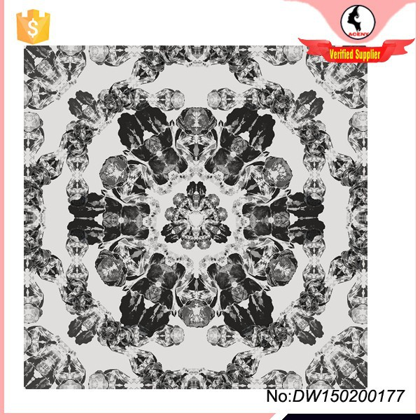 Factory direct custom Iris flower digital print silk scarf