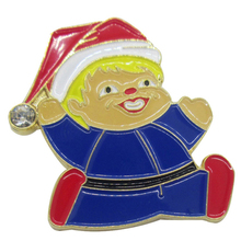custom souvenir badge Manufacture baby face Christmas Santa lapel pin