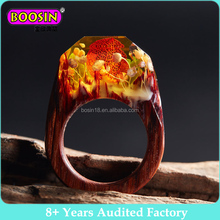 Personalized Women's Amazing Magic Blue Forest Natural Wood Ring Resin Wooden Jewelry resin ring wood