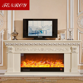 Luxurious 2m Log Dimensional Carved Tv Standing Electric Fireplace