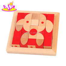 New hottest montessori wooden 3d cube puzzle for kids W14G045