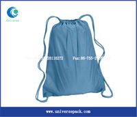 light blue printing nylon drawstring backpack bag