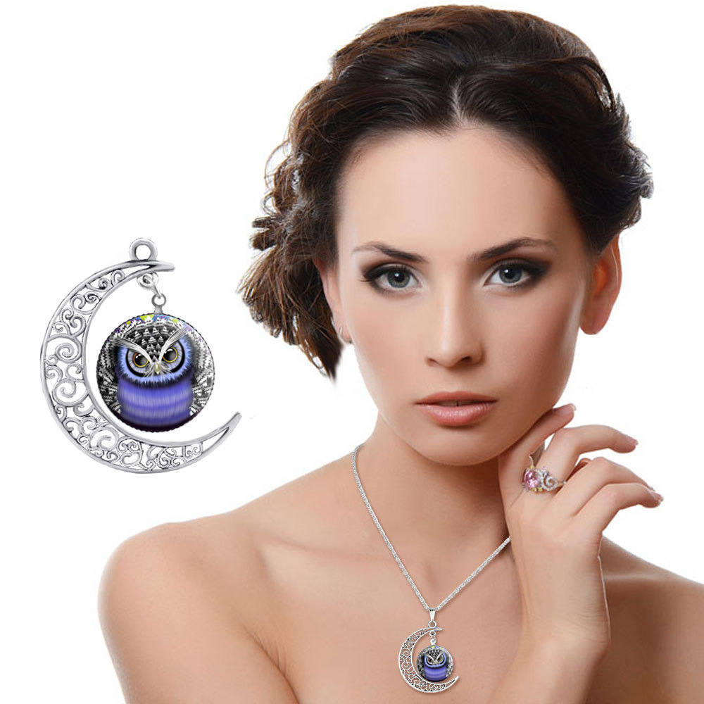 Jewelry Wholesale Glass Galaxy Owl Design Time Turner Necklace