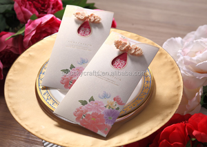 2016 Traditional Chinese Knot Handmade Design Laser Cut Wedding Invitation Cards with white envelope for Wedding