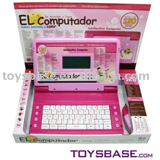 2011 new Spanish color screen children learning toy computer