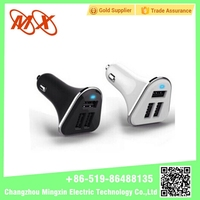 Triangle 3 Port Usb Car Charger with Led Light Output 12v 2a for Smartphone Charging