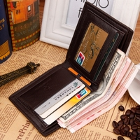 2016 Brand New tide casual Men wallet Purse Genuine PU Leather Man Short Wallets Pocket Wholesale