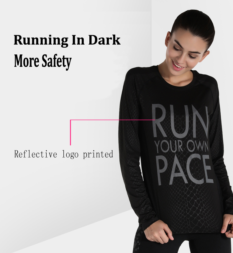 custom made autumn wear long sleeves t shirt / reflective running shirt for night sport