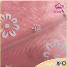 Customized net lace fabric dubai flocked design for dress,cheap mesh fabric