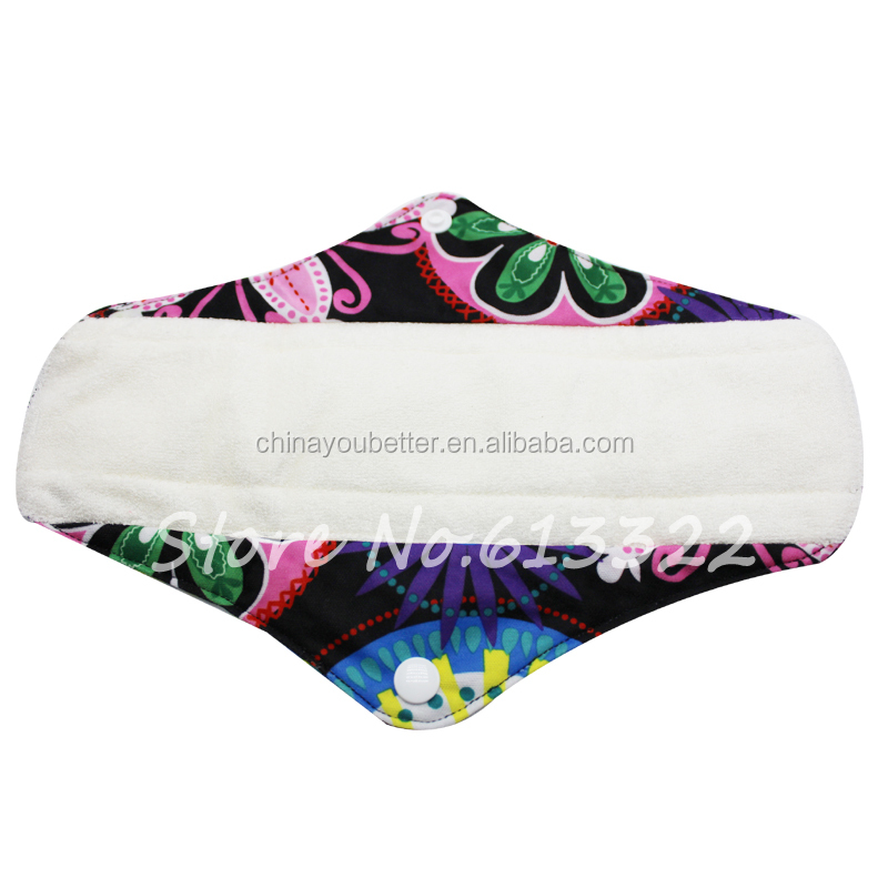 New Design Bamboo Menstrual Pads Reusable Waterproof Cloth Sanitary Napkins Pad