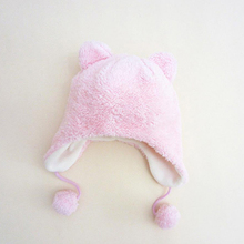 Smart pink coral velvet 1 6 years old baby wool cap