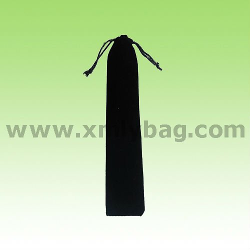 Black Velvet Drawstring Pencil Bag And Pen Pouch