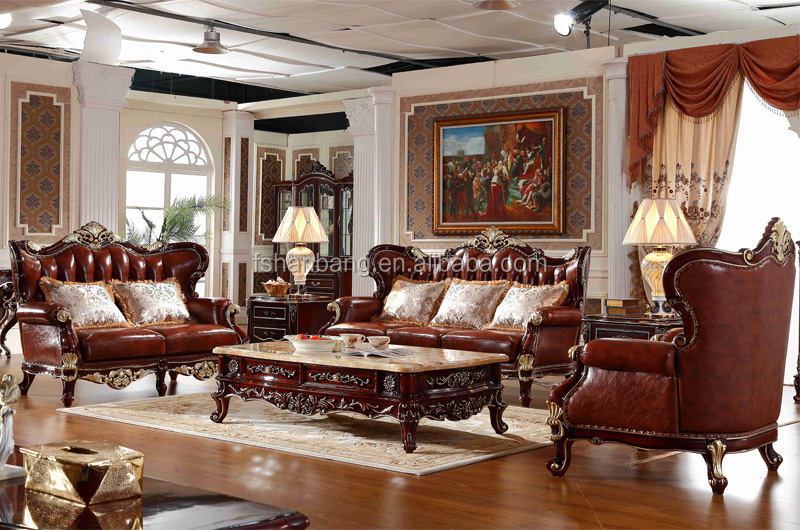 Luxury antique royal style gold carved wood leather living room furniture sofa set buy leather - Add luxurious look home royal sofa living room ...