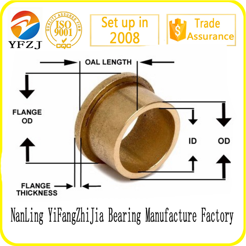 Powder metal alloy flange or sleeve or cylindrical bush, oilite oil sintering PM bronze square bushing