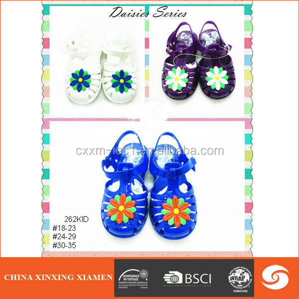 2015 fashion casual kid shoe jelly sandal with flower