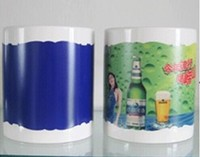 11oz white mug with patch color changing irregular edge blue