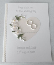 Fancy trend style white heart shaped invitation card for 2015 wedding