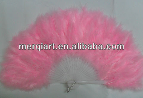 Plastic Frame Pink Feather Decor wholesale feather fans