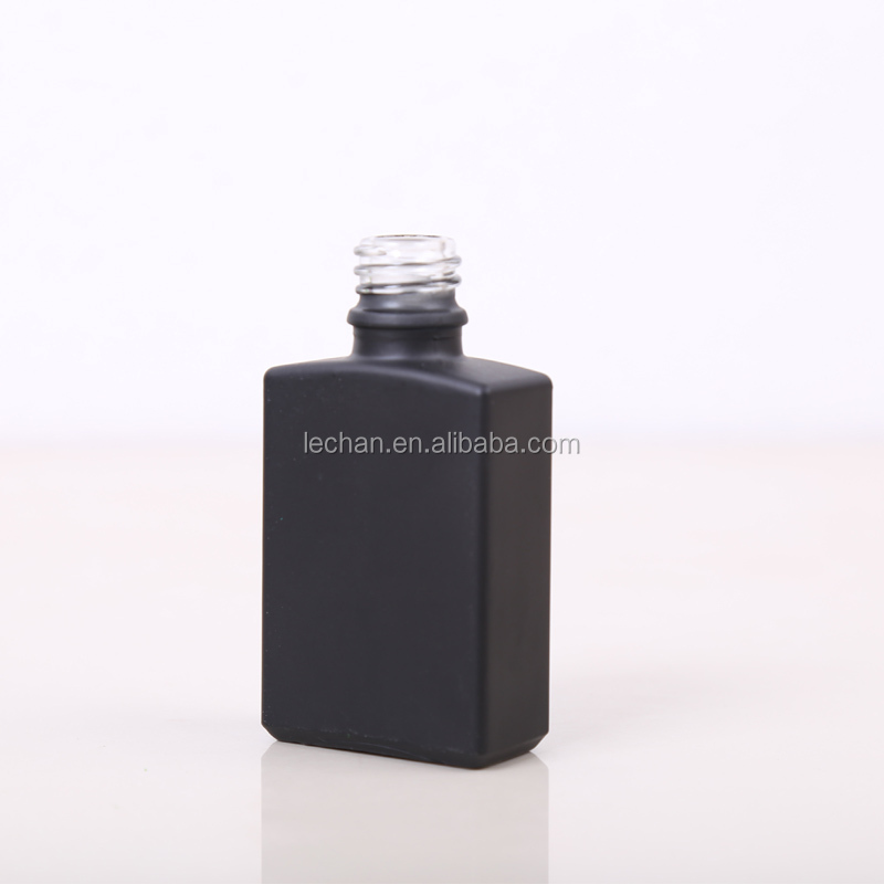 Trade Assurance! 30ml beauty empty matte black rectangle glass dropper bottles for beard oil packing with box