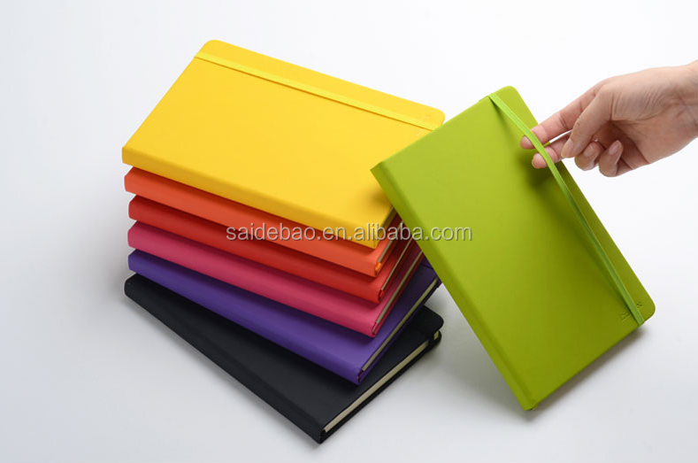 perfect binding soft PU leather cover A5 school notebook with logo custom