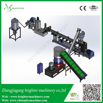 agglomerator and naturally feeding plastic granulation line for pe film and rigid pe flakes