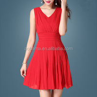 Ladies chiffon V-Neck A line sleeveless dress