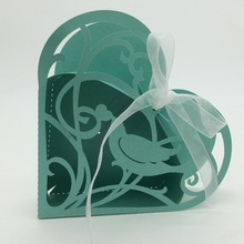 2015 Best selling Green Bird Heart Shape laser cut wholeale candy box with ribbon chocolate favour box baby shower gift box