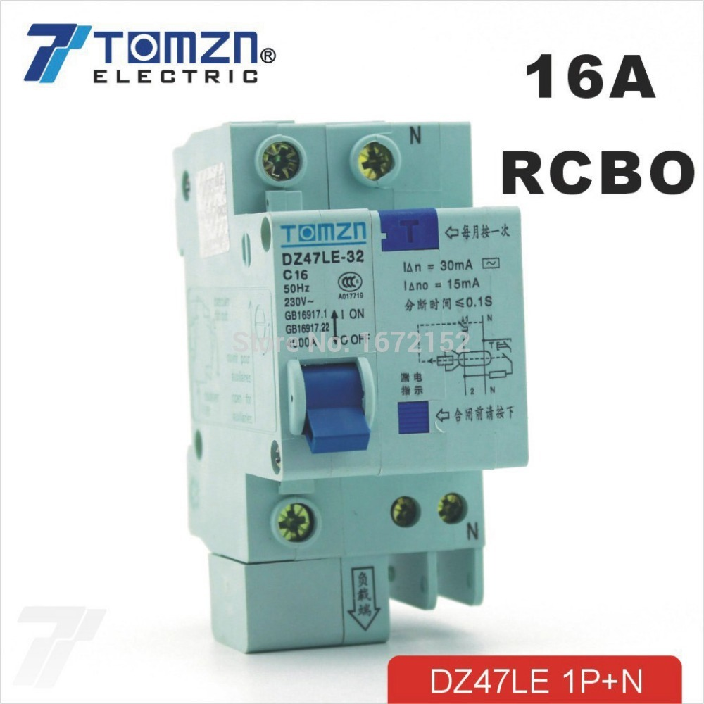DZ47LE 1P+<strong>N</strong> 16A C type 230V~ 50HZ/60HZ Residual current Circuit breaker with over current and Leakage protection RCBO