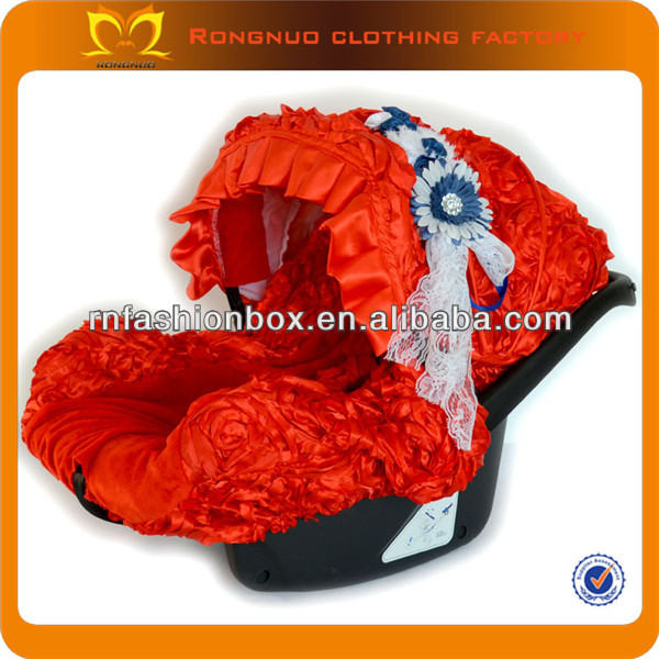 New design red baby car seat cover with flower belt sheepskin baby car seat cover for kids