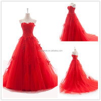 2015 New Wedding dress Real Sample Hot sale Fashion strapless Red Tulle lace appiqued Ball Gown Wedding dresses