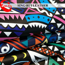 0.8MM Geometric Figure Printed Pattern PU Material Shoe Leather