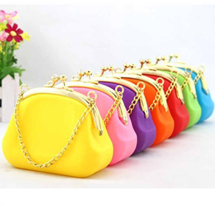 Elegant Ladies Clutch Silicone Purse Gold with Diamand Brand Wallets
