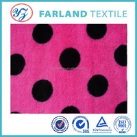 Top-grade Plush fabric circle dot printed knitted polyester fabric for girl winter cloth