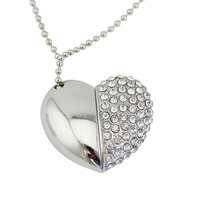 Half Crystal Mirror Design Usb 2.0 Memory Stick Heart-Shaped Necklace Usb Flash Drive 4Gb 8Gb 16Gb 32Gb 64Gb U Disk Pendrive