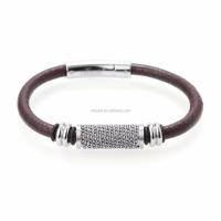Mens Fashion Accessory Steel Black Leather